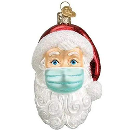 Santa Claus with Mask Decoration, 2020 Personalized Christmas Ornaments Pendant, Xmas Tree Hanging Ornaments Wearing Mask Santa Claus Decorations (1 Pack)