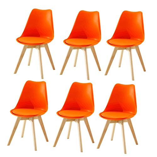 MNBV Juego de sillas de Comedor de 6 Muebles Modernos Retro de Madera de plástico para Cocina, Restaurante, Sala de Estar, Escritorio, Patio, Dormitorio, balcón, Taburete de Maquillaje, Asiento d