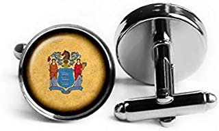 United States State Flag New Jersey NJ Rhodium Plated Silver Cufflinks