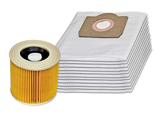 Invest 10 Staubsaugerbeutel + Patronenfilter kompatibel mit Kärcher 6.959-130.0 WD 3 MV 3