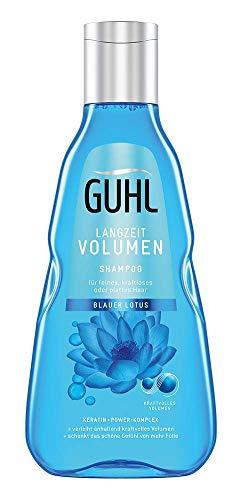 Guhl Langzeit Volumen Shampoo - mit blauem Lotus - verleiht kraftvolles Volumen - für feines, kraftloses Haar, 250 ml