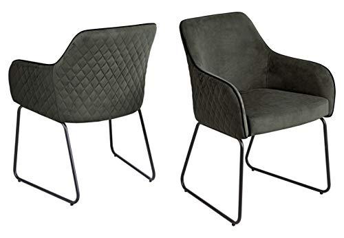 Set one by Musterring Stuhl Hampton 2 STK, ESS-Zimmerstuhl aus samt und gepolstert mit Armlehnen, graublau