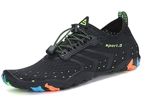 Unisex Zapatos de Agua Slip on Suave Descalzo Aqua Calcetines para La Piscina de Playa Surf Yoga Mujeres Hombres,Negro,37