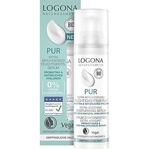 LOGONA PUR Feuchtigkeitsserum mit Hyaluron & Probiotika, Natürliches Serum für das Gesicht, Beruhigt empfindliche Haut & spendet intensiv Feuchtigkeit, Zertifizierte Naturkosmetik, Vegan, 30 ml
