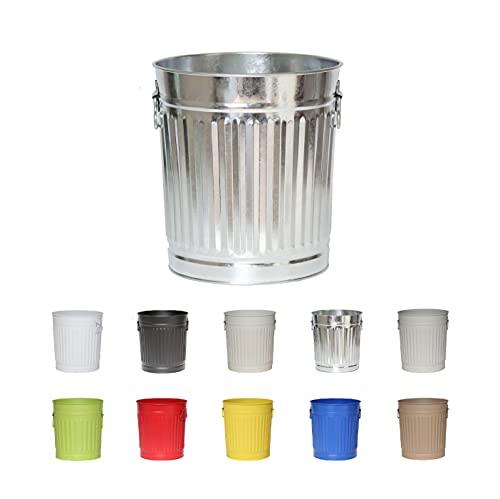 Jinfa | Cubo de basura de metal con asas | Contenedor vintage para interiores, reciclaje | Sin tapa | Zinc | Tamaño: XL | 42 cm de diámetro, 47,5 cm de altura | Volumen: 62 Litros