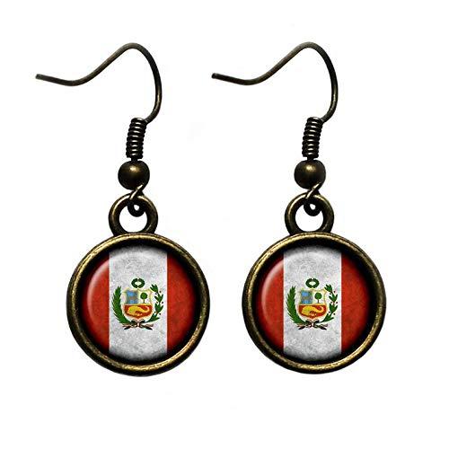 Flower world - Pendientes peruanos de bandera del Perú, adornos de cristal de cúpula, regalo para ella