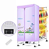 Secadora secadora de doble capa de gran capacidad silenciosa secadora secadora de ropa de secado rápido hogar (Color : Azul)
