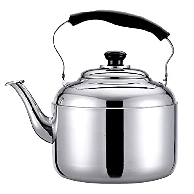 Tea Kettle? Stainless Steel Whistle Teapot-with Ergonomic Handle Tea Kettle Suitable For Stove Top (Color : Silver, Size : 3L)