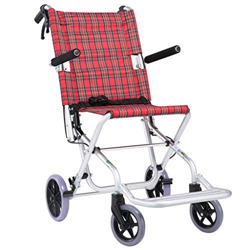 Yhtech Medizin und Rehabilitation Stuhl, Rollstuhl, Folding Leichtgewichtrollstuhl Aluminiumlegierung Ultra-Portable Rollstuhl Miniatur Handbremse Cross Border Reisen for Kinder Ältere Rad Einfache Wa