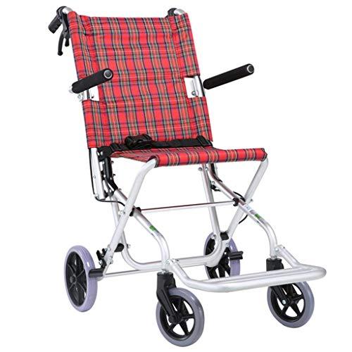 JKUNYU Medizin und Rehabilitation Stuhl, Rollstuhl, Folding Leichtgewichtrollstuhl Aluminiumlegierung Ultra-Portable Rollstuhl Miniatur Handbremse Cross Border Reisen for Kinder Ältere Rad Einfache Wa