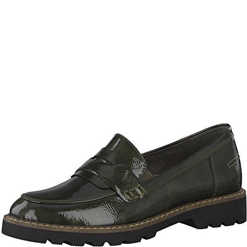 Tamaris Damen Slipper 24312-21,Frauen Schlüpfschuh,Slip-on,modisch,Freizeitschuh,Blockabsatz 3cm,Dark Olive PAT,EU 39