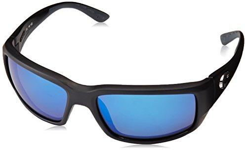 Costa Del Mar Men's Fantail 580G Polarized Rectangular Sunglasses, Matte Black/Grey Blue Mirrored Polarized-580G, 59 mm