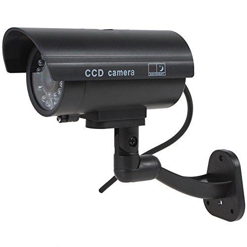 Kabalo Réaliste Caméra Factice sans Fil, Faux Factice de sécurité CCTV Clignotant LED intérieure extérieure Noir