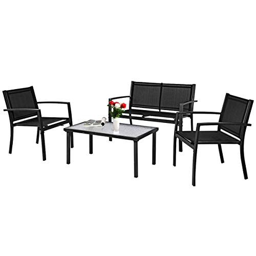 Tangkula Patio Furniture Set 4 PCS, Tempered Glass Coffee Table & Loveseat for Backyard Lawn Pool Balcony, Sturdy Armrests for Relaxing, Patio Conversation Set