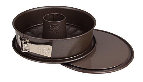 Dr. Oetker Springform Ø 26 cm, runde Backform der Serie Back-Edition aus Stahl mit 2 Böden - Flach- und Rohrboden mit Antihaftbeschichtung (Farbe: braun), Menge: 1 Stück