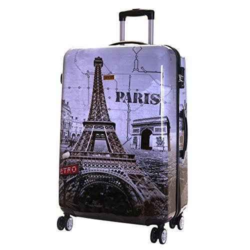 Karabar Hard Shell Extra Large Suitcase Luggage Bag XL 76 cm 4.5 kg 100 litres 4 Spinner Wheels with Integrated TSA Number Lock, Falla Paris