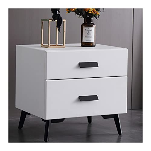 DO.CKEB Nightstand Bedside Table with 2 Drawers, Modern End Table Side Table with Storage Shelves, Bedside Furniture Storage Cabinet with Steel Frame for Bedroom 48.5x40x47cm,White