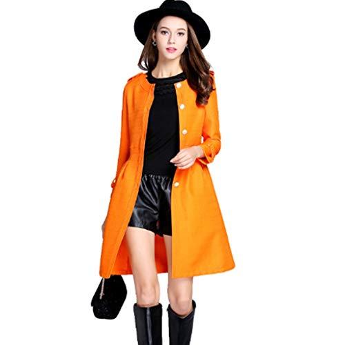 QJKai Damen Einreiher Mittellange Trenchcoat Jacke Casual Langarm Slim Fit Leichte Windbreaker Cardigan Tops for den Frühling Herbst (Size : XL)