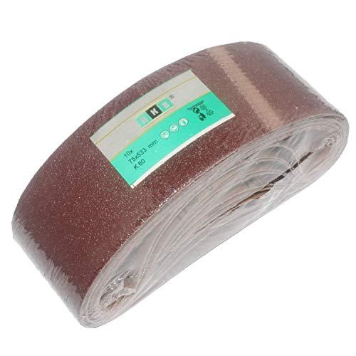 10 Stück HKB ® Gewebe-Schleifbänder, 75 x 533mm, Körnung 60 für Bandschleifmaschinen, Schleifmittel Korund, Hochwertige Profi-Qualität für verschiedene Oberflächen, feiner und riefenfreier Schliff, universell einsetzbar, Artikel-Nr. 776987