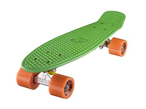 Ridge Skateboard 55 cm Mini Cruiser Retro Stil In M Rollen Komplett U Fertig Montiert Grün Orange,