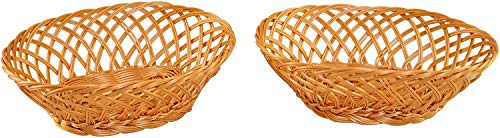 """Home-X Oval Plastic Woven Wicker Basket, Bread Baskets-Table Decor and Storage, Natural-Set of 2- Light Brown-10"""" L x 7.5""""W x 3.5"""" H"""