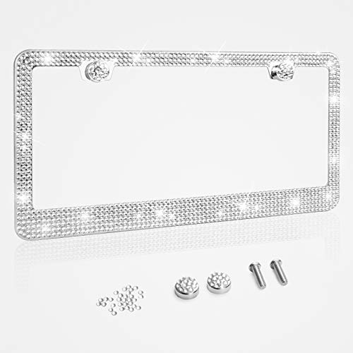 Tchipie 1 Pack Bling Rhinestone License Plate Frames, Bedazzled Sparkly Cute Diamond Car License Plate Frame, Glitter Crystal Tag Frame, Stainless Steel Frame(White)