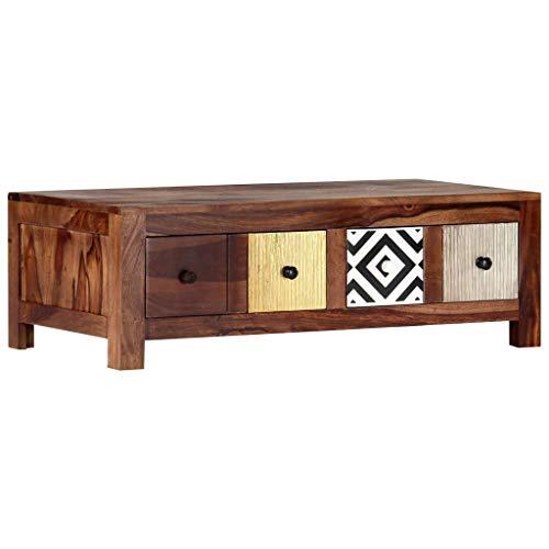 vidaXL Sheesham-Holz Massiv Couchtisch mit 2 Schubladen Wohnzimmertisch Sofatisch Beistelltisch Kaffeetisch Holztisch Tisch 90x50x30cm Palisander