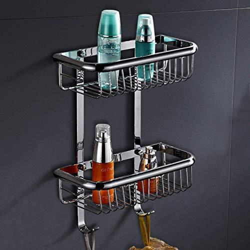 DXMRWJ Estante de baño Canasta de Almacenamiento de baño montada en la Pared Galvanoplastia Baño Canasta de Malla Cuadrada de latón 30Cm de Largo