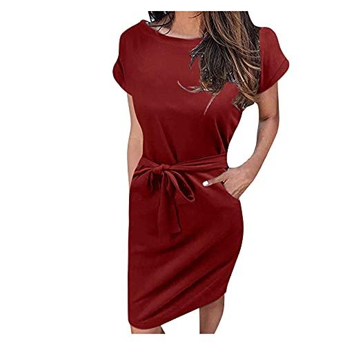 Vestido de cuello redondo, vestido de manga corta, informal, vestido de verano para mujer, vestido corto para verano, informal, elegante, vestido corto Vino L