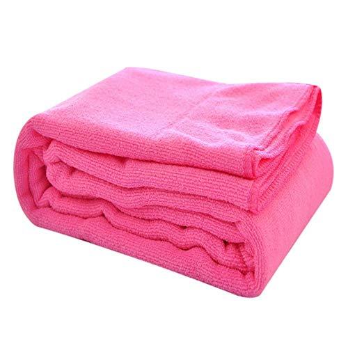 LASISZ 1pc Microfibra Washcloth Bath Towel Absorbent Drying Bath Beach Towel Swimwear Shower Face Washer Beauty Salon Bath Towels,Pink,70x140cm