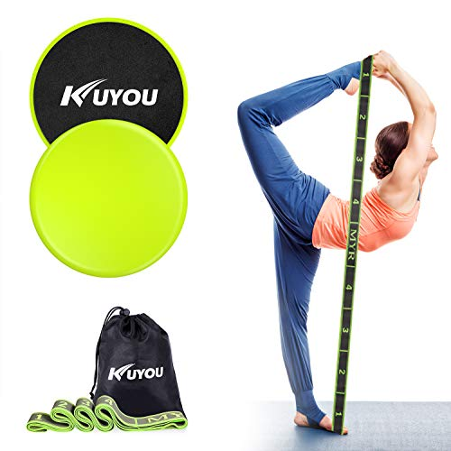 KUYOU Resistance Bands and Exercise Sliders Fitness Kit, Professional Gliding Discs Core Sliders for Smooth Sliding On Carpet or Hardwood Floors - Small Fitness Equipment for Home Gym Travel (Green)
