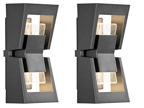 KONSTSMIDE 2-delige set dimbare UP & DOWN LED-buitenwandlampen, aluminium zwart, vervangbare LED-module