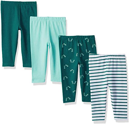 Hanes Ultimate Baby Flexy 4 Pack Knit Pants, Blue/Green, 0-6 Months
