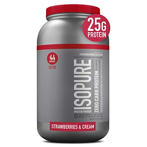 Isopure Zero Carb, Vitamin C and Zinc for Immune Support, 25g Protein, Keto Friendly Protein Powder, 100% Whey Protein Isolate, Flavor: Strawberries & Cream, 3 Pounds (Packaging May Vary)