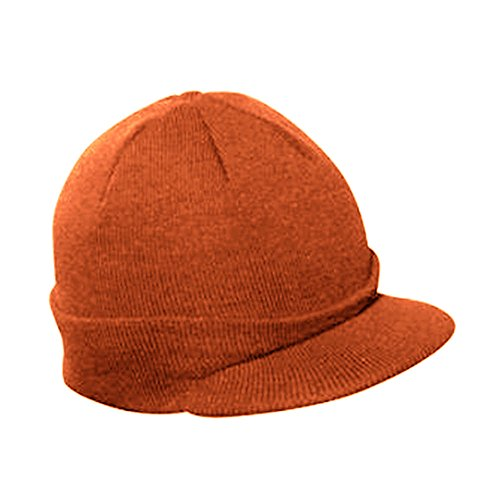 The Vintage Year Plain Short Billed Knit Radar with Cuff Beanie (Orange)