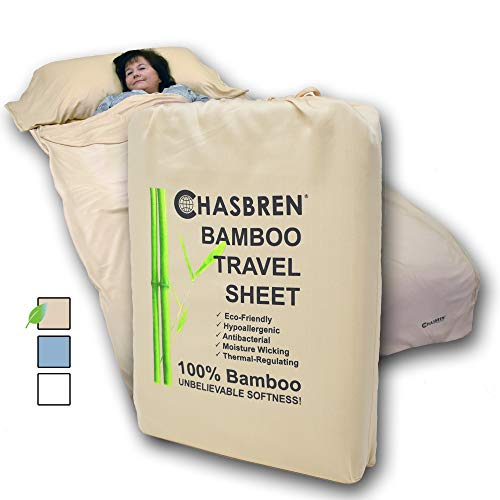 Chasbren Travel Sheet - 100% Bamboo Travel Bedding for Hotel Stays and Other Travels - Soft Comfortable Roomy Lightweight Sleep Sheet, Sack, Bag, Liner - Pillow Pocket, Zippers, Carry Bag (Tan)