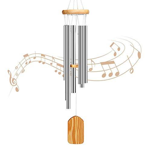 xiaohuozi Klassische hölzerne Musik Windspiele 6 Röhren aus Aluminium Windchime Qualitätsgeschenk für Garten, Terrasse, Balkon und Inneneinrichtung