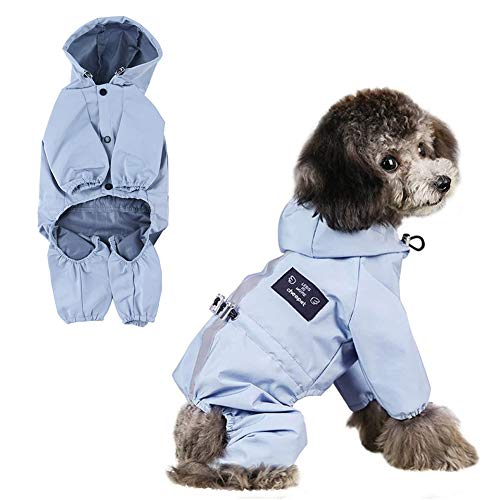 MLGB Dog Raincoat for Small Medium Dogs 100% Polyester Waterproof Rain Coat for Dogs with Hood Adjustable Reflective Strip and Leash Hole Covers Belly Lightweight Puppy Pet Rain Jacket Rainwear