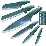 Wanbasion 6 Pezzi Set di Coltelli da Cucina Professionali Chef, Set Coltelli da Cucina Acciaio Inox, Set Coltelli da Cucina Alta qualità Cuoco Verde