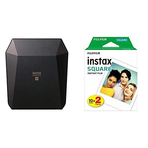 Fujifilm Instax Share SP-3 - Impresora para smartphone, color negro + Fuji FUJ105230 - Película instant instax (square ww 2, 2x10 fotos) multicolor