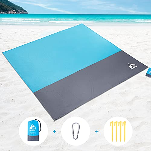 HEWOLF Stranddecke wasserdichte Picknickdecke Sanddichte Campingdecke Übergroße 210 x 200 cm Ultraleicht Tragbare Strandmatte Outdoor Picknickdecken für Piknicke Strand Camping Wandern Blau