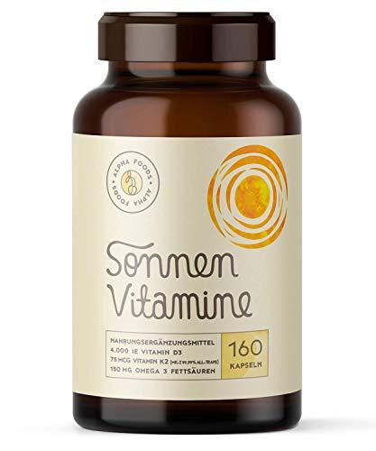 4.000 Vitamin D3, K2 (vitaMK-7, 99,99{c6b672d56729d5f0140d8382d80309b4addf05438d6474f014ceac3081b4ec0c} All-Trans) und pflanzliche Omega 3 Fettsäuren aus Leinsamen und Algen | SONNENVITAMINE | Ohne Zusatzstoffe, ohne Hilfsstoffe | 160 V-Caps