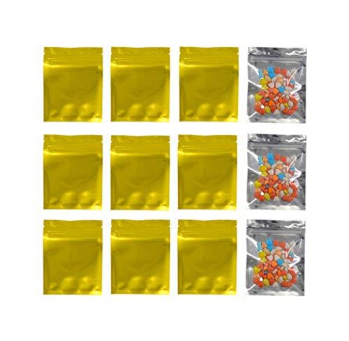 100 bolsas de plástico de aluminio con cierre de cremallera resellable de 10 x 12,7cm bolsas de aluminio sellables con calor bolsas de almacenamiento de alimentos caramelo y té sello de agarre dorado