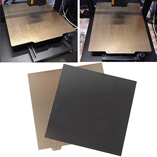 Hoja de acero para impresora 3D, hoja de acero de resorte de doble capa Placa de polvo de PEI dorado + adhesivo magnético apto para Voron 350 V2 355 x 355 mm