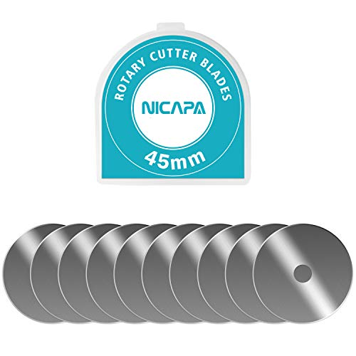 Rotary Cutter Blades 45mm 10pcs by NICAPA,Quilting Supplies Sewing Fabric Circular Hole Sharp and Durable Fits Fiskars/Olfa