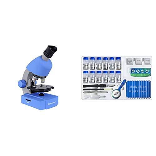 Bresser Junior Einsteiger Mikroskop 40-640x mit Durchlicht LED-Beleuchtung und mit 3 Objektiven, blau & Bresser Junior Experimentier-Set zum Einstieg in die Mikroskopie mit Objektgläsern, Lupe
