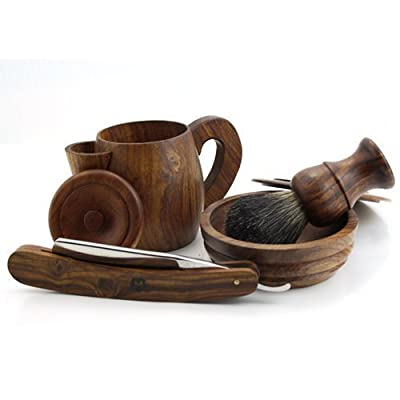 Hand Made Vintage Style Wooden 4 Pcs Shaving Set Including Shaving Brush, Straight Razor, Shaving Soap Bowl, And Hot Water Shaving Mug Sophist Collection Elegantly Designed By Haryali London In Rose Wood.