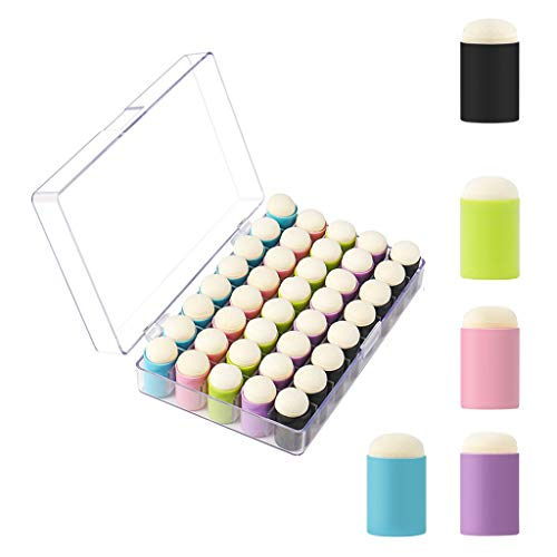 BlingGlow 40 Pack of Finger Sponge Daubers with Storage Case for Painting Art Ink Crafts,Paintbrush for Wall,Plastic