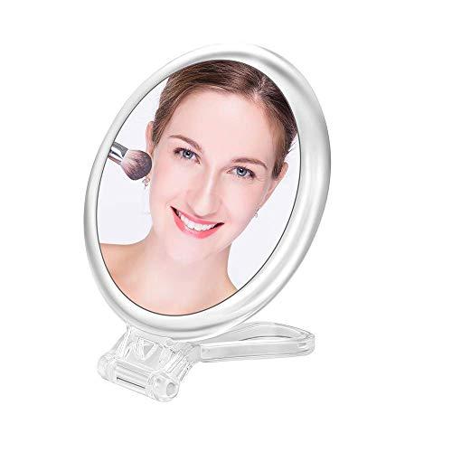 Espejo de mano compacto plegable / Espejo de maquillaje de sobremesa con dos lados de aumento 15X y True View / Espejo de viaje redondo de 12,7 cm