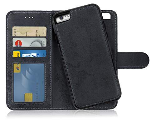 MyGadget Custodia Flip Cover 2in1 Magnetica per Apple iPhone 6 Plus / 6s Plus - Portafoglio Funzione Porta Carte - Case Similpelle PU Removibile - Nero